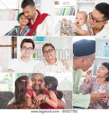 Collage photo fathers day concept. Mixed race family generations having fun indoors living lifestyle. All photos belong to me.