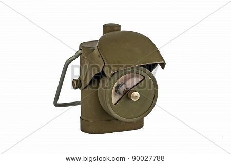Antique Second World War Lamp Isolated On White Background.