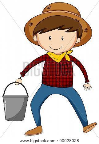 Closeup male farmer holding a bucket