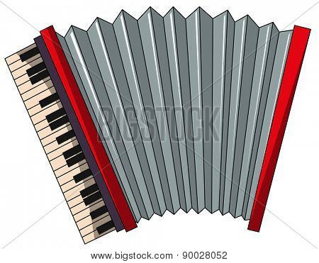 Close up plain red accordion