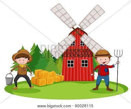 Farmers working in front of the barn