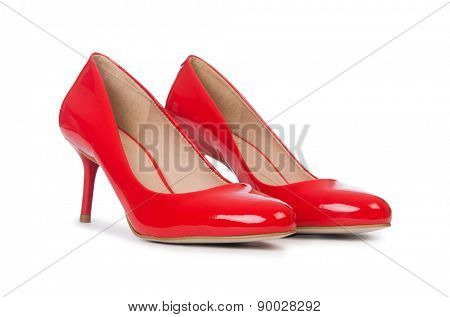 Red woman shoes isolated on the white background