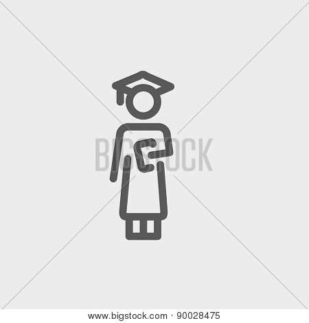 Graduation icon thin line for web and mobile, modern minimalistic flat design. Vector dark grey icon on light grey background.