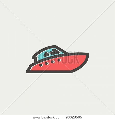 Speedboat icon thin line for web and mobile, modern minimalistic flat design. Vector icon with dark grey outline and offset colour on light grey background.