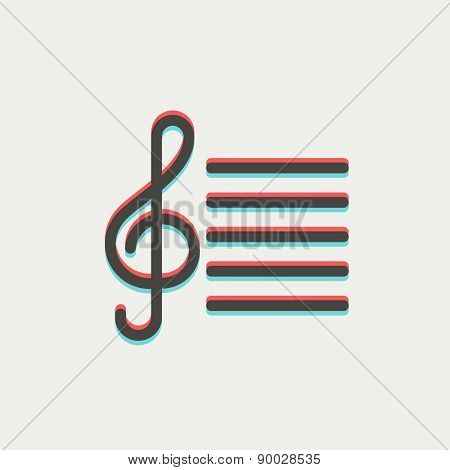 Musical note icon thin line for web and mobile, modern minimalistic flat design. Vector icon with dark grey outline and offset colour on light grey background.
