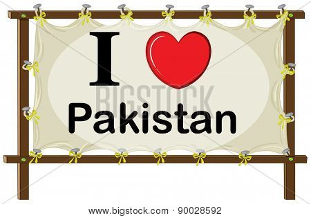 I love Pakistan sign in wooden frame