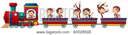 Happy monkeys riding on a train