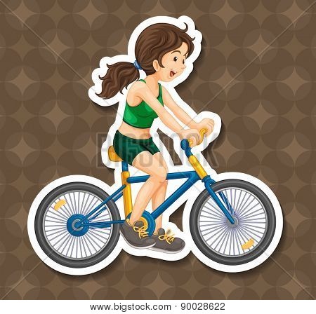 Happy girl riding bicycle alone