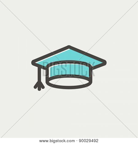 Graduation cap icon thin line for web and mobile, modern minimalistic flat design. Vector icon with dark grey outline and offset colour on light grey background.