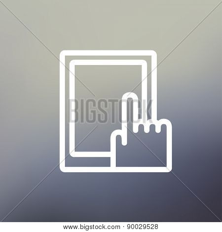 Tablet icon thin line for web and mobile, modern minimalistic flat design. Vector white icon on gradient mesh background.