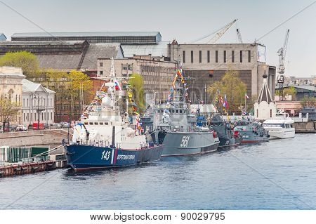 Warships Stands On The Neva River
