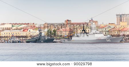 Warships On The Neva In Anticipation Of Military Parade