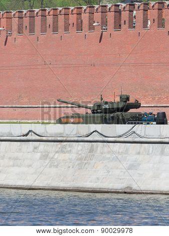 Armata Tank Rides On The Kremlin Embankment
