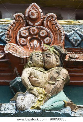 Detail Of Older Gopuram At Mahalingeswarar Temple, Loving Couple.