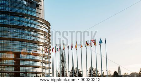 All European Union Flags In Strasbourg