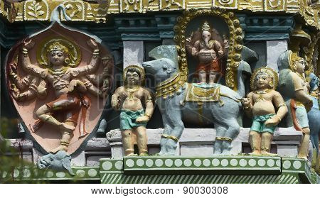 Shiva As Elephant Slayer On Gopuram.