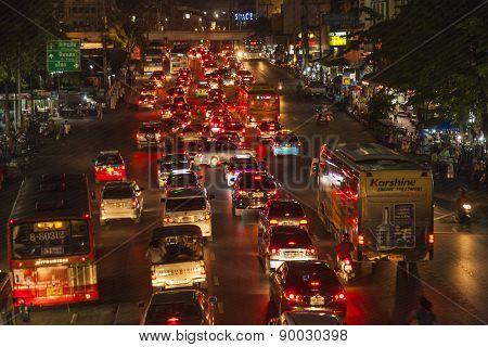 Traffic At Main Road In Bangkok At Night