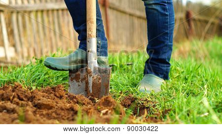 Digging the ground with a spade
