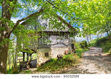 Hayrack and barn in Alpine enviroment, Slovenia