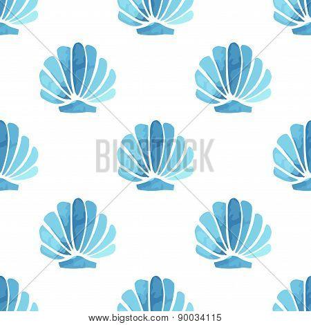 Seashell vector seamless summer pattern