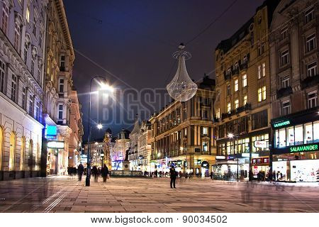 Vienna - Famous Graben Street At Night With Rain Reflection