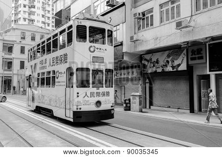 HONG KONG - OCTOBER 04: Double-decker trams on October 04, 2010. Hong Kong tram is the only system in the world run with double deckers