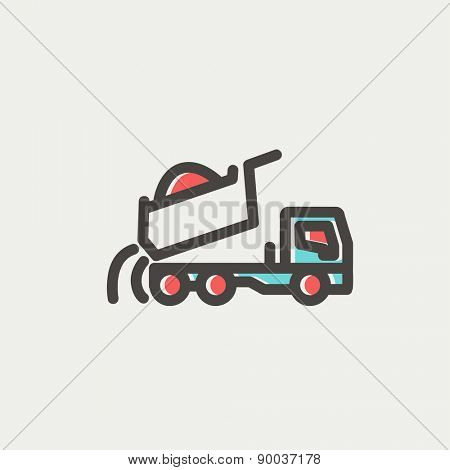 Dump truck icon thin line for web and mobile, modern minimalistic flat design. Vector icon with dark grey outline and offset colour on light grey background.