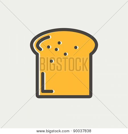 Single slice of bread icon thin line for web and mobile, modern minimalistic flat design. Vector icon with dark grey outline and offset colour on light grey background.