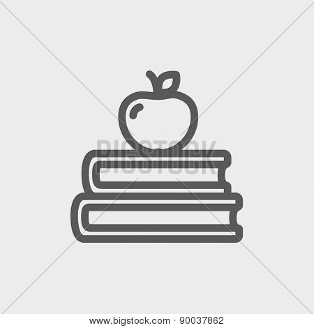 Three books with apple on the top icon thin line for web and mobile, modern minimalistic flat design. Vector dark grey icon on light grey background.