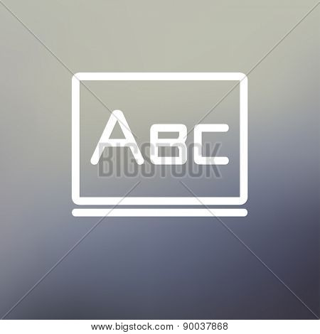 Big letters ABC on the blackboard icon thin line for web and mobile, modern minimalistic flat design. Vector white icon on gradient mesh background.
