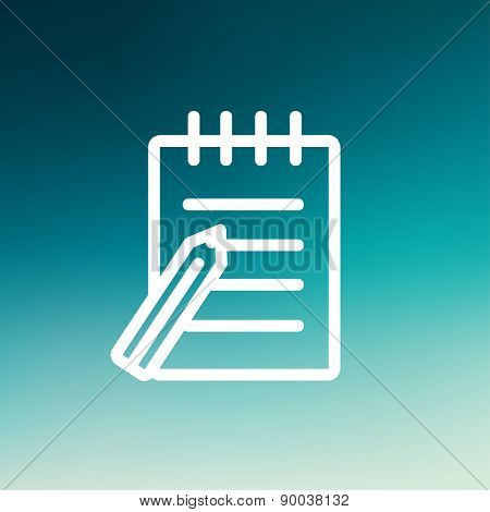 Writing pad with pen icon thin line for web and mobile, modern minimalistic flat design. Vector white icon on gradient mesh background.