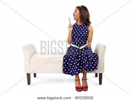 Female Author in Retro Vintage Clothing