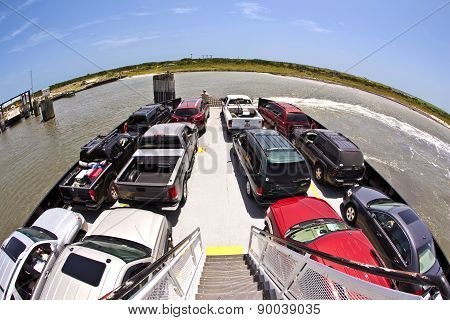Cars On A Ferry Top View
