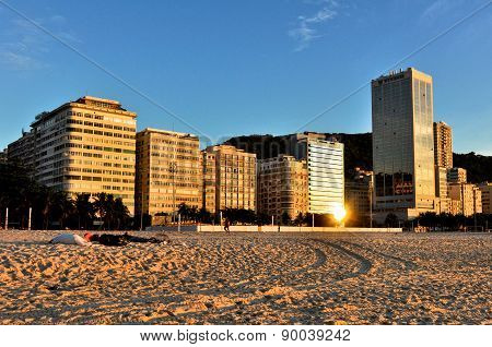 Copacabana Beach Buildings in the Morning