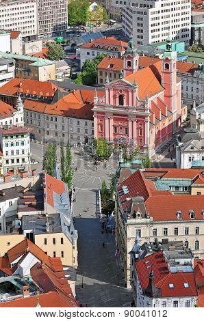 Preseren square and St. Francis church in Ljubljana