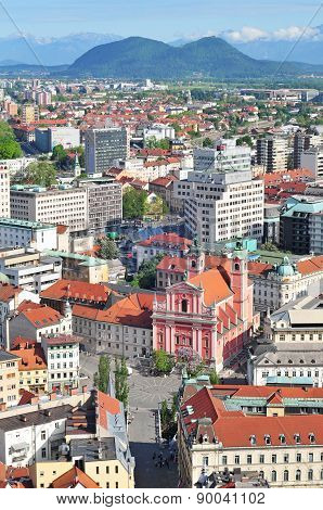 Aerial view of Slovenian capital Ljubljana