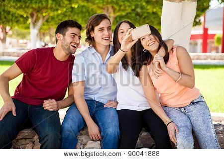 Taking A Selfie With Friends