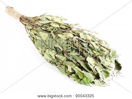 Birch broom for sauna, isolated on white