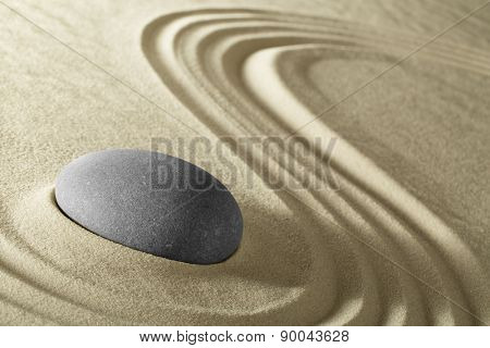 Zen background for meditation traditional Japanese stone garden with sand and rock pattern spa wellness in simplicity harmony and serenity helps in concentration and relaxation