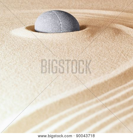 zen stone background sand lines for balance relaxation and meditation concept for purity spirituality serenity calmness peaceful harmony simplicity relax copyspace