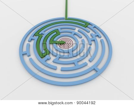 Maze Labyrinth 3D Render With Green Arrow To Target
