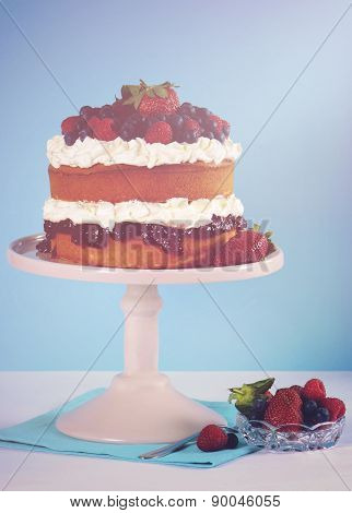 Fresh Whipped Cream And Berries Layer Sponge Cake.