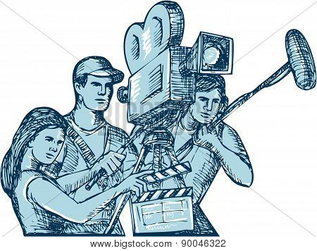 Film Crew Clapperboard Cameraman Soundman Drawing
