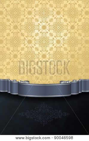Vintage Background With Damask Patterns And Ribbon.