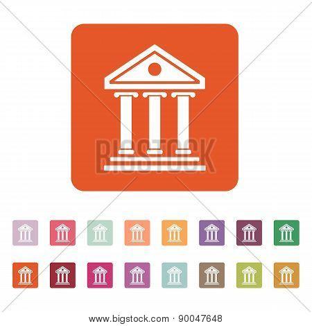 The Bank Icon. Building Facade Symbol. Flat