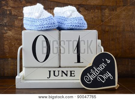 International Childrens Day Concept With June First Calendar