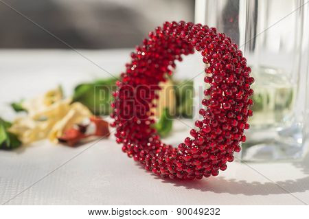 Wattled Bracelet From Red Beads Close Up