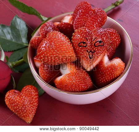 Luscious Heart Shape Red Strawberries With Happy Face.