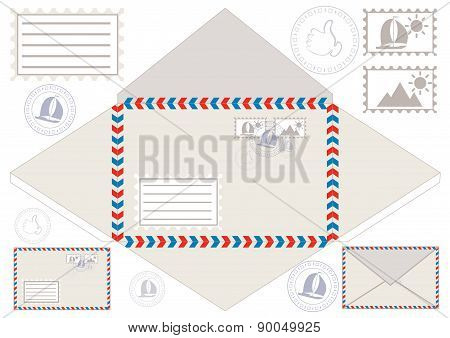 Mail Envelope, Stickers, Stamps, And Postcard, Vector Illustration