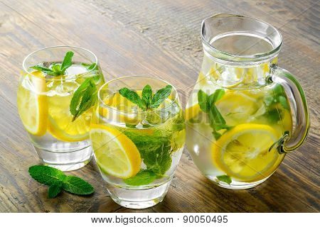 Fresh water with lemon, mint and cucumber